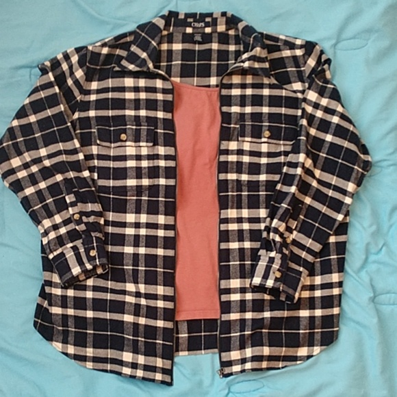 New Chaps Ralph Lauren Cotton Jacket Blue White Striped Button Front Cardigan 2X